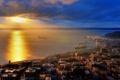 Картинка закат, город, залив, США, Сиэттл