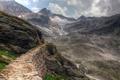 Картинка облака, горы, скалы, дорога, камни