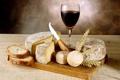 Картинка пшеница, вино, красное, бокал, сыр, хлеб, нож