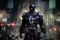 Картинка ночью, город, The Arkham Knight, DC Comics, дождь