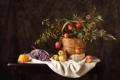 Картинка яблоки, виноград, тыква, натюрморт, гранат
