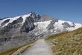 Картинка снег, горы, вершины, дорожка, скамейки, тропинка, лавочки