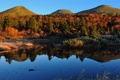 Картинка осень, вода, деревья, пейзаж, природа, озеро, холмы