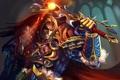 Картинка оружие, магия, меч, воин, арт, мужчина, World of Warcraft