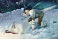 Картинка снег, ночь, кровь, волк, Девушка, оскал, мех