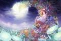 Картинка цветы, ночь, луна, шляпа, сад, арт, девочка