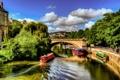 Картинка небо, облака, деревья, мост, река, люди, англия