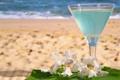 Картинка пляж, бокал, орхидеи