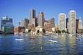 Картинка река, дома, небоскребы, лодки, США, Boston