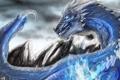 Картинка холод, горы, синий, магия, дракон, монстр, арт