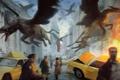 Картинка Legendary, город, машины, люди, паника, арт, грифоны