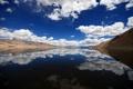 Картинка облака, небо, горы, снег, отражение, вода, озеро