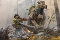 Картинка взгляд, человек, робот, арт, бензопила, Robert Chew, гиганская собака