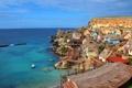 Картинка море, небо, скала, дома, поселок, Мальта, Anchor Bay