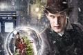 Картинка девушка, снег, улица, человек, елка, шар, шляпа