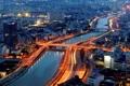 Картинка река, здания, Вьетнам, мосты, ночной город, Vietnam, Сайгон