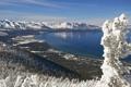 Картинка зима, небо, снег, горы, озеро, дерево