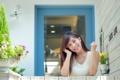 Картинка девушка, улыбка, дом, азиатка