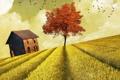 Картинка поле, дом, стиль