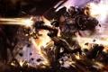 Картинка огонь, прыжок, робот, Девушка, взрывы, бой, выстрелы