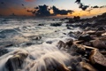 Картинка море, небо, камни, вечер, потоки, омывают