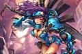 Картинка девушка, металл, оружие, робот, меч
