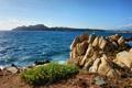 Картинка волны, трава, скалы, берег, Италия, Средиземное море, Сардиния