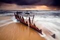 Картинка море, пляж, небо, ржавый, скелет