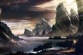 Картинка пейзаж, горы, река, скалы, дома, арт, хижины