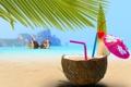 Картинка трубочки, лодки, море, тропик, пляж, коктейль, зонтик