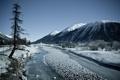 Картинка река, Зима, лёд, долина, снежные вершины