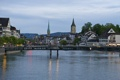 Картинка река, небо, башня, вечер, деревья, Цюрих, дома