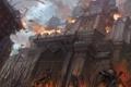 Картинка пожар, армии, замок, осада, штурм, копейщики, стены