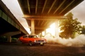 Картинка солнце, мост, Chevrolet, red, шевроле, блик, красная