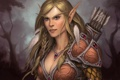 Картинка лес, ожерелье, эльфийка, стрелы, elf