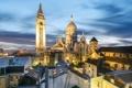 Картинка пейзаж, Франция, Париж, дома, Монмартр, базилика Сакре-Кёр