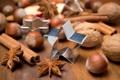 Картинка зима, звезды, палочки, Новый Год, Рождество, орехи, корица