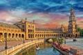 Картинка небо, мост, башня, канал, Испания, дворец, Севилья