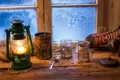 Картинка зима, окна, лампа, натюрморт