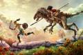Картинка динозавр, погоня, наездник, раптор