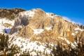 Картинка небо, снег, деревья, горы, скала