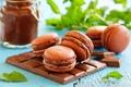 Картинка сладость, шоколад, пирожное, шоколадная паста, макаруны