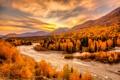 Картинка осень, лес, небо, деревья, пейзаж, горы, тучи