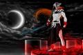 Картинка ночь, магия, луна, меч, арт, рога, Bleach