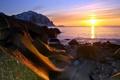 Картинка море, пейзаж, закат, природа, камни