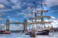 Картинка England, река, Tower Bridge, River Thames, Темза, барк, парусник