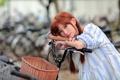Картинка лето, девушка, велосипед, лицо, волосы