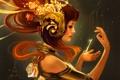 Картинка девушка, цветы, фантастика, волосы, руки, ключ, арт