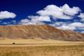 Картинка поле, небо, облака, горы