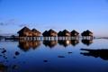 Картинка tropics, побережье, the houses, тропики, домики, the sea coast, море